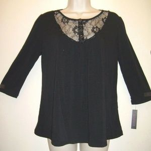Lace Button Upper Front Maternity Top Shirt